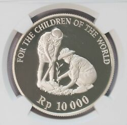Ngc-pf69uc 1999 Indonesia 10kr Unicef Children Of The World Proof