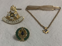 3-masonic Fraternal Collectables-2-pins 1 Tie Clip Gold And Gold Tone Collectables