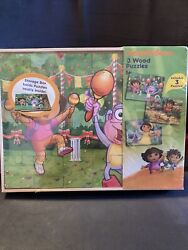 Jigsaw Puzzle Nickelodeonandrsquos Dora 3 Wood Puzzles In Wooden Storage Box New Sealed