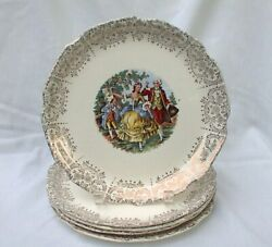 Five Dinner Plates Salem China Gold Filigree Colonial Couple In Garden Scalloped