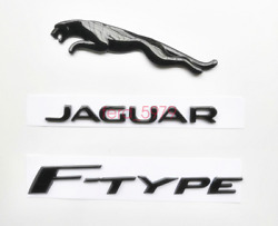 3x Glossy Black Emblem Rear Badge Decal For Jaguar 2017+ Fpace V6 R S F-type