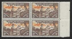 New Zealand 1946 Health 2d. + 1d. Mnh Block Of Four, One With Feathers In Hat