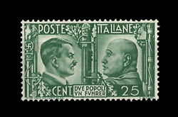 Italy Stamp - Hitler And Mussolini - 25 Cent - 1941 - Propaganda Stamp