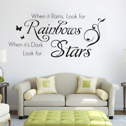 When It Rains English Quote Art Wall Sticker PVC Removable DIY Home Decor Decals