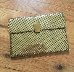 Vintage Whiting And Davis Small Gold Mesh Purse Clutch Makeup Card Bag W/ Mirror
