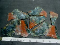 6 Red Green Moss Agate Slabs 1.1 Lbs Cab Rough Lapidary Lb Pound