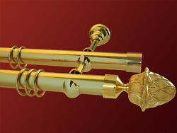 Curtain Rail Brass 1 9/16in 2-lfg. Model Pine Pipe Smooth/fluted