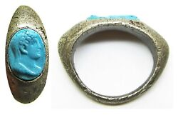 1st Century Ad Roman Silver Cameo Ring Of Emperor Augustus Turquoise Glass