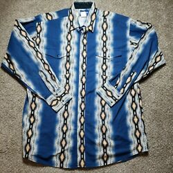 Wrangler Western Aztec Pearl Snap Mens Size Extra Large Tall Long Sleeve