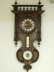 Antique German Wall Clock With French Barometer And Thermometer, Ca. 1890 Old Good
