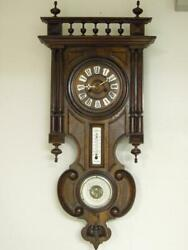Antique German Wall Clock With French Barometer And Thermometer Ca. 1890 Old Good