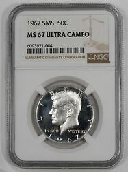 1967 Sms Kennedy Half Dollar 50c Ngc Ms 67 Mint Unc - Ultra Cameo 004