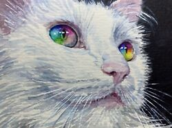 Watercolor Painting White Cat Rainbow Color Eyes Kitten Aceo Art