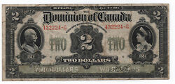 1914 Canada 2 Banknote Boville Signed Series G Curved Lettering Fine/very Fine
