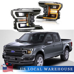 Fits For 2018-2020 Ford F150 Black Drl/signal Led Tube Dual Projector Headlights
