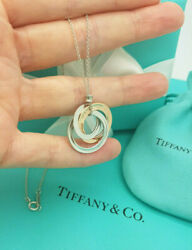 And Co 1837 Rubedo Silver Interlocking 3 Circles Pendant Necklace Rrp £430