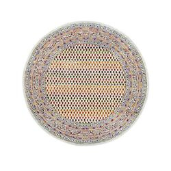 6and039x6and039 Round Colorful Wool And Sari Silk Saroogh Hand Knotted Rug R62329