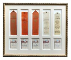 Vintage Framed Matted Creek County Fair Drumright Oklahoma Ribbons For Flowers