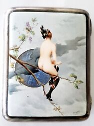 Elegant Sterling Silver Hand Painted Nude Lady Enamel Cigarette Case H Gray 122g