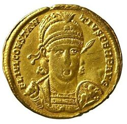 355 - 361 Ad Roman Gold Solidus Of Emperor Constantius Ii From The Antioch Mint