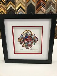 Charles Fazzino A Salute To The Most Brave 3-d Artwork Deluxe Ed Fire Dept