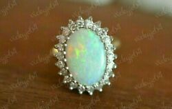 Halo Ring 2.00ct Oval Cut White/precious Opals And Diamond 14k Yellow Gold Finish