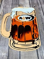 Vintage A And W Root Beer Advertising 12 Metal Mug Soda Pop Gasoline And Oil Sign