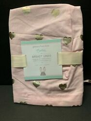 Pottery Barn Kid Small Pink Gold Heart Metallic Easter Basket Liner Sold Out New