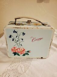 Vintage 1964 Corsage Blue Floral Flower Collectible Metal Lunch Box And Thermos