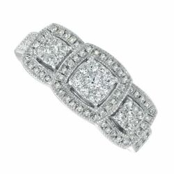 1/2 Carat Real Diamond Three Stone Framed Engagement Ring In 10k White Gold