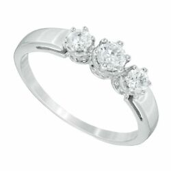 0.50 Ct Natural Diamond Three Stone Ring In Solid 10k White Gold For Womenand039s