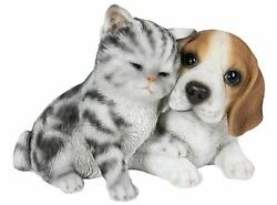 6.6quot; CAT AND BEAGLE DOG FIGURINE STATUE LIFELIKE ANIMAL HOME AND GARDEN DECOR