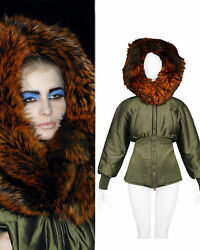 Vintage Alexander Mcqueen Olive Green And Red Fox Fur Hood Bomber 2007