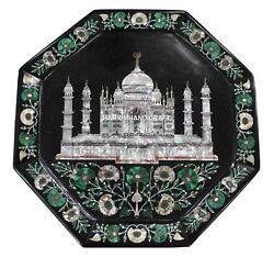 Marble Serving Tray Plate Tajmahal With Gemstone Inlaid Design Floral Home Gifts