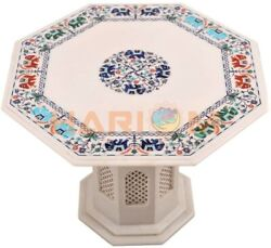 22 White Marble Coffee Table Top Elephant Floral Inlay Art With 18 Stand W477