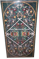Green Marble Dining Table Top Marquetry Gem Mosaic Inlay Arts Garden Decor H2496