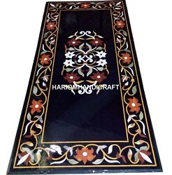 Black Marble Dining Center Table Top Rare Marquetry Inlay Mosaic Art Decor H2490
