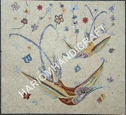48 White Marble Dining Table Top Bird Multi Mosaic Inlay Outdoor Decors E927a