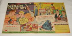 1957 Gilbert Two Page Ad Science, Erector Set, Chemistry, American Flyer Trains