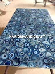 4and039x2and039 Beautiful Marble Dining Table Top Rare Inlay Blue Agate Kitchen Decor E332