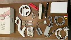 Nintendo Wii Lot - Console + Component Cables 480p + 13 Games +accessories