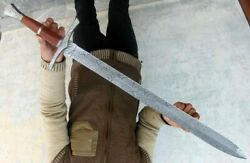 Damascus Steel Sword Dagger Sword 37 Long Comes With Leather Sheath Full Tang