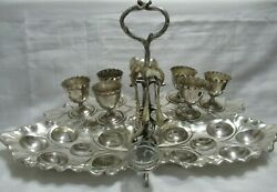 Antique Wmf Silverplate Egg Holder Tray W/ 6 Cups 6 Spoons And 2 Crystal Inserts