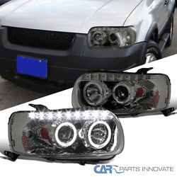 Ford 05-07 Escape Smoke Dual Halo Smd Led Drl Tinted Projector Headlights Pair