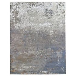 9'1x12' Taupe Farsian Knot With Abstract Design Silk Hand Knotted Rug R66432