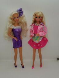 Vintage 80s 90s Barbie Pink Purple Puffy Paint Style Outfits Dolls Lot