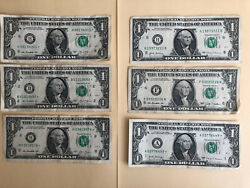 1 Star Note One Dollar Bill 2009 -2017 Lot Of 6