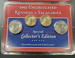 2003 P And D Uncirculated Kennedy Sacagawea Littleton Collector Edition 4 Coin Set