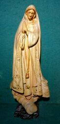 Our Lady Of Fatima Vtg 265mm Chalkware Figure Statue