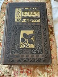 Antique Leather 1884 Book, Crabble George Poetic Works W Gilded Golden Pages Vtg